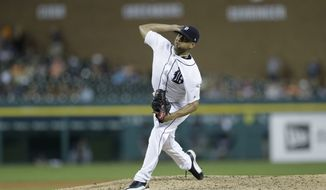 Detroit Tigers relief pitcher Francisco Rodriguez throws during the eighth inning of a baseball game against the Tampa Bay Rays, Thursday, June 15, 2017, in Detroit. (AP Photo/Carlos Osorio)
