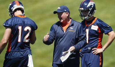 Denver Broncos quarterbacks coach Bill Musgrave, center, directs quarterbacks Paxton Lynch, left, and Kyle Sloter during drills at NFL football practice, Thursday, June 15, 2017, at the team's' headquarters in Englewood, Colo. (AP Photo/David Zalubowski)