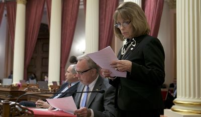 Senate Minority Leader Pat Bates, R-Laguna Niguel, right, and Sen. Mike Morrell, R-Rancho Cucamonga, joined other members of the GOP in voting against the state budget plan, Thursday, June 15, 2017,in Sacramento, Calif. Despite Republican opposition,the Senate approved the $125 billion general fund spending plan, which was negotiated by Democratic Gov. Jerry Brown and Democratic legislative leaders.(AP Photo/Rich Pedroncelli)