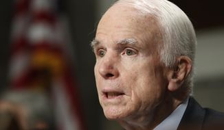 Senate Armed Services Committee Chairman Sen. John McCain, R-Ariz. speaks on Capitol Hill in Washington, Tuesday, June 13, 2017, during the committee's hearing on the defense department's budget.  (AP Photo/Jacquelyn Martin)