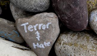 "A rock has the words ""terror and hate"" written on it at an art installation that encourages the public to write out their fears and leave them behind, along Mt. Vernon Ave in Alexandria, Va., Thursday, June 15, 2017, the day after House Majority Whip Steve Scalise of La. was shot during during a congressional baseball practice. (AP Photo/Jacquelyn Martin)"