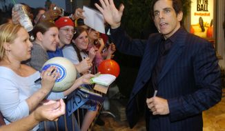 """FILE - In this June 14, 2004, file photo, Ben Stiller waves to fans outside the premiere  of """"Dodgeball: A True Underdog Story,"""" in Los Angeles. Stiller has brought Vince Vaughn and the rest of the cast of his 2004 film, """"Dodgeball,"""" back together for an online film released June 14, 2017, to support a charity fundraiser. (AP Photo/Chris Pizzello, File)"""