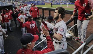 Washington Nationals' Bryce Harper returns to the dugout to congratulations from coaches and teammates after hitting a solo home run against the New York Mets during the first inning of a baseball game Thursday, June 15, 2017, in New York. (AP Photo/Julie Jacobson)