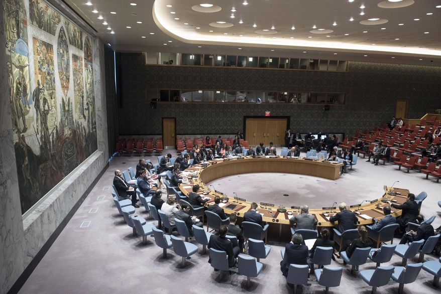 In this photo provided by the United Nations, the United Nations Security Council holds a meeting on the situation in the Middle East, Thursday, June 15, 2017 at United Nations Headquarters. (Kim Haughton/The United Nations via AP) ** FILE **