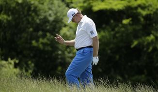 Ernie Els, of South Africa, on the 16th hole during the first round of the U.S. Open golf tournament Thursday, June 15, 2017, at Erin Hills in Erin, Wis. (AP Photo/Charlie Riedel)