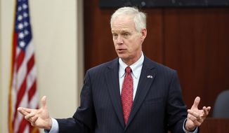 Sen. Ron Johnson makes an appearance at Orion Energy Systems Friday, Jun. 16, 2017, in Manitowoc, Wis. The Chamber of Manitowoc organized the event. (Josh Clark/The Post-Crescent via AP) ** FILE **