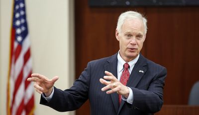 Sen. Ron Johnson makes an appearance at Orion Energy Systems Friday, June 16, 2017, in Manitowoc, Wis. The Chamber of Manitowoc organized the event. (Josh Clark/The Post-Crescent via AP) ** FILE **