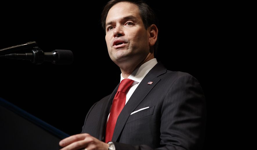 Sen. Marco Rubio, R-Fla. speaks in Miami, Friday, June 16, 2017, where President Donald Trump spoke on Cuba policy.  (AP Photo/Evan Vucci)