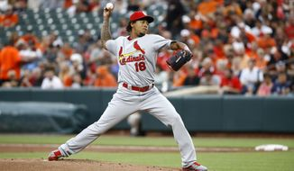 St. Louis Cardinals starting pitcher Carlos Martinez throws to the Baltimore Orioles in the first inning of an interleague baseball game in Baltimore, Friday, June 16, 2017. (AP Photo/Patrick Semansky)