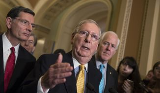 Senate Majority Leader Mitch McConnell and other Republicans are targeted in Democratic National Committee ad. (Associated Press/File)