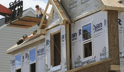 In this Thursday, June 1, 2017, photo, builders work on the roof of a home under construction at a housing plan in Jackson Township, Butler County, Pa. On Friday, June 16, 2017, the Commerce Department reports on U.S. home construction in May. (AP Photo/Keith Srakocic)