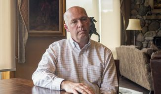 Rep.-elect Greg Gianforte responds to questions at his home in Bozeman, Montana, about an election-eve confrontation with a reporter. Gianforte is set to be sworn into office on Wednesday, June 21, 2017, after winning a special congressional election nearly a month ago. He pleaded guilty to assaulting the reporter but says he is ready to put the episode behind him. (AP Photo/Bobby Caina Calvan)