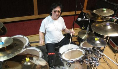 "In this June 15, 2017 photo, drummer and vocalist Peter Criss rehearses in a New York City studio for his final U.S. performance on Saturday, June 17. The co-founding member of Kiss best known for the hit single ""Beth"" says he wants to leave the stage on his own terms after a series of unhappy endings with Kiss, and to say goodbye to his fans. (AP Photo/Wayne Parry)"