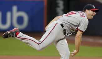 Washington Nationals pitcher Max Scherzer delivers against the New York Mets during the first inning of a baseball game, Friday, June 16, 2017, in New York. (AP Photo/Julie Jacobson)