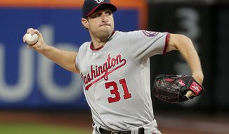 Washington Nationals pitcher Max Scherzer (31) delivers against the New York Mets during the first inning of a baseball game, Friday, June 16, 2017, in New York. (AP Photo/Julie Jacobson)
