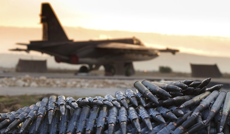 Russia angrily announced Monday that it was shutting down a hotline designed to avoid unintentional clashes between American and Russian fighters operating in the skies above Syria and would even target U.S. and allied planes if they strayed from their zone. (Associated Press/File)