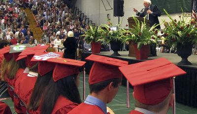 U.S. Sen. Bernie Sanders delivers the commencement address to Champlain Valley Union High School students Friday, June 16, 2017, at Patrick gymnasium on the University of Vermont campus in Burlington, Vt. (AP Photo/Lisa Rathke)