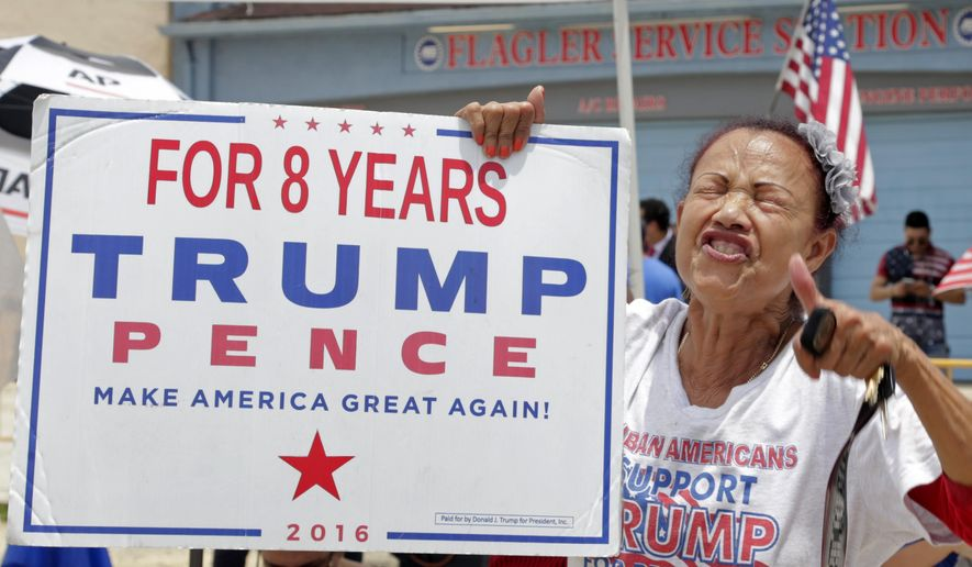 A pro-President Donald Trump supporter chants slogans, Friday, June 1, 2017, in Miami. The president announced a revised Cuba policy aimed at stopping the flow of U.S. cash to the country's military and security services while maintaining diplomatic relations. (AP Photo/Alan Diaz) **FILE**