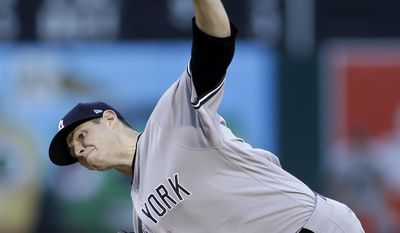 New York Yankees pitcher Jordan Montgomery works against the Oakland Athletics during the first inning of a baseball game Thursday, June 15, 2017, in Oakland, Calif. (AP Photo/Ben Margot)