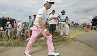 Justin Thomas walks to the 18th hole during the third round of the U.S. Open golf tournament Saturday, June 17, 2017, at Erin Hills in Erin, Wis. (AP Photo/A Charlie Riedel)