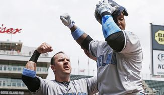Cleveland Indians' Jose Ramirez, right, grabs his helmet as it almost fell off as he entered the dugout to congratulations from Daniel Robertson following Ramirez' solo home run off Minnesota Twins pitcher Adam Wilk in the first inning during game one of a baseball doubleheader Saturday, June 17, 2017, in Minneapolis. (AP Photo/Jim Mone)