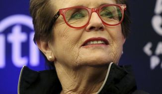 """FILE - In this Oct. 10, 2016 file photo, Billie Jean King speaks to members of the media prior to a World Team Tennis exhibition in Las Vegas. Baby boomer and tennis great King had some good things to say about millennials in a speech to Northwestern University graduates. King on Friday, June 16, 2017, told the graduates they are """"the best generation so far"""" when it comes to inclusion.  (AP Photo/Isaac Brekken, File)"""