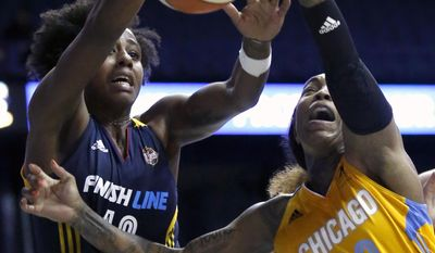Indiana Fever guard Shenise Johnson, left, and Chicago Sky guard Cappie Pondexter battle for a rebound during the second half of a WNBA basketball game Sunday, June 18, 2017, in Rosemont, Ill. (AP Photo/Nam Y. Huh)