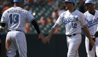Baltimore Orioles' Seth Smith (12) celebrates a win over the St. Louis Cardinals with Manny Machado (13) after a baseball game, Sunday, June 18, 2017, in Baltimore. (AP Photo/Nick Wass)