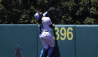 Los Angeles Angels' Cameron Maybin climbs the wall in an unsuccessful attempt to catch a three-run home run hit by Kansas City Royals' Salvador Perez during the fourth inning of a baseball game, Sunday, June 18, 2017, in Anaheim, Calif. (AP Photo/Jae C. Hong)