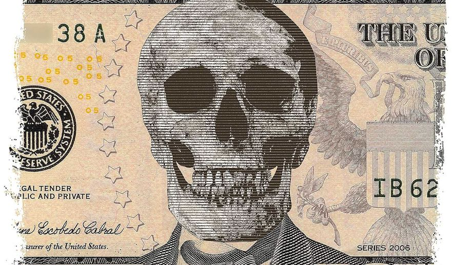 Illustration on the death of cash by Greg groesch/The Washington Times