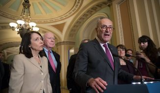 Senate Minority Leader Charles E. Schumer said the GOP is drafting an Obamacare replacement bill in secret due to their own shame. (Associated Press)