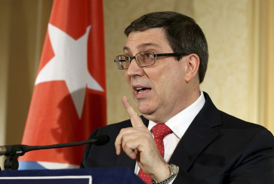 Cuban Foreign Minister Bruno Rodriguez Parilla addresses the media during a news conference in Vienna, Austria, Monday, June 19, 2017. (AP Photo/Ronald Zak)