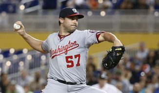 Washington Nationals' Tanner Roark delivers a pitch during the first inning of a baseball game against the Miami Marlins, Monday, June 19, 2017, in Miami. (AP Photo/Wilfredo Lee)
