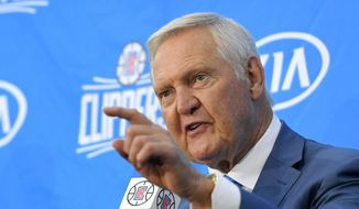 Jerry West speaks during a news conference to introduce him as an advisor to the Los Angeles Clippers, Monday, June 19, 2017, in Los Angeles. (AP Photo/Mark J. Terrill)