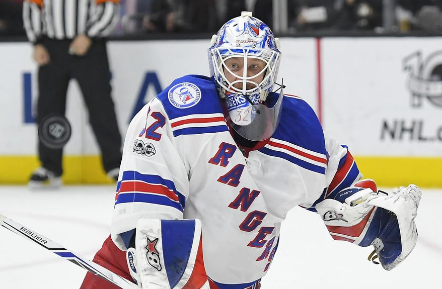 FILE - In this Saturday, March 25, 2017, file photo, New York Rangers goalie Antti Raanta, of Finland, deflects a shot during the second period of the team's NHL hockey game against the Los Angeles Kings in Los Angeles. The Vegas Golden Knights GM might as well be The Godfather of the NHL during a three-day expansion draft window. The expansion draft rules made it so that Vegas would wind up with strong enough goaltending to be competitive even in its inaugural season. There's also a surplus of young goaltending talent, including Detroit's Petr Mrazek, Washington's Philipp Grubauer, the Rangers' Raanta and Colorado's Calvin Pickard. (AP Photo/Mark J. Terrill, File)