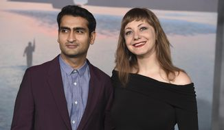 """FILE - In this March 8, 2017 file photo, Kumail Nanjiani, left, and his wife Emily Gordon arrive at the Los Angeles premiere of """"Kong: Skull Island."""" Nanjiani and Gordon wrote the film, """"The Big Sick,"""" which chronicles their relationship from the start, when the Pakistan-born Nanjiani was trying to make it as a stand-up in Chicago. (Photo by Jordan Strauss/Invision/AP, File)"""