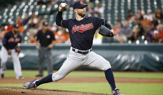 Cleveland Indians starting pitcher Corey Kluber throws to the Baltimore Orioles in the first inning of a baseball game in Baltimore, Monday, June 19, 2017. (AP Photo/Patrick Semansky)