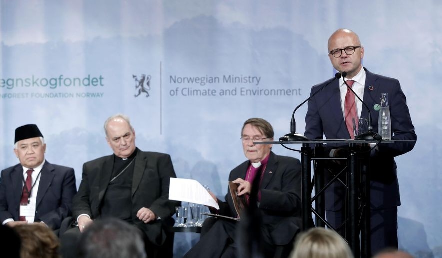 Norway's Minister of Climate and Environment Vidar Helgesen speaks during the Interfaith Rainforest Initiative in Oslo, Norway, Monday June 19, 2017.  Religious and indigenous leaders worldwide are calling for an end to deforestation in an international multi-faith, multi-cultural plea to reduce the emissions that fuel climate change, which is killing tropical rainforests.(Lise Aserud/NTB Scanpix via AP)