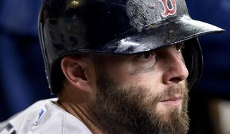 Boston Red Sox' Dustin Pedroia looks from the dugout before a baseball game against the Houston Astros, Sunday, June 18, 2017, in Houston. (AP Photo/Eric Christian Smith)