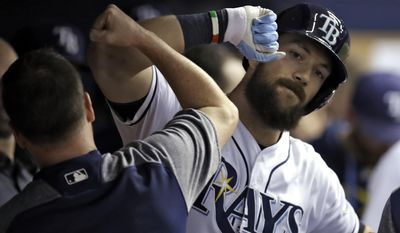 Tampa Bay Rays' Steven Souza Jr. celebrates with teammates in the dugout after hitting a home run off Cincinnati Reds starting pitcher Scott Feldman during the sixth inning of a baseball game Monday, June 19, 2017, in St. Petersburg, Fla. (AP Photo/Chris O'Meara)