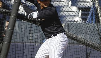 FILE - In this Feb. 17, 2017, file photo, New York Yankees' Gleyber Torres during a spring training baseball workout in Tampa, Fla. Top Yankees prospect Torres has a torn ligament in his non-throwing elbow and will have Tommy John surgery that will sideline him until spring training. (AP Photo/Matt Rourke, File)
