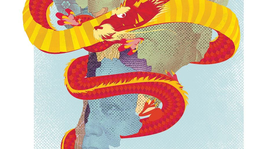 Illustration on Chinese encroachment on South America by Linas Garsys/The Washington Times