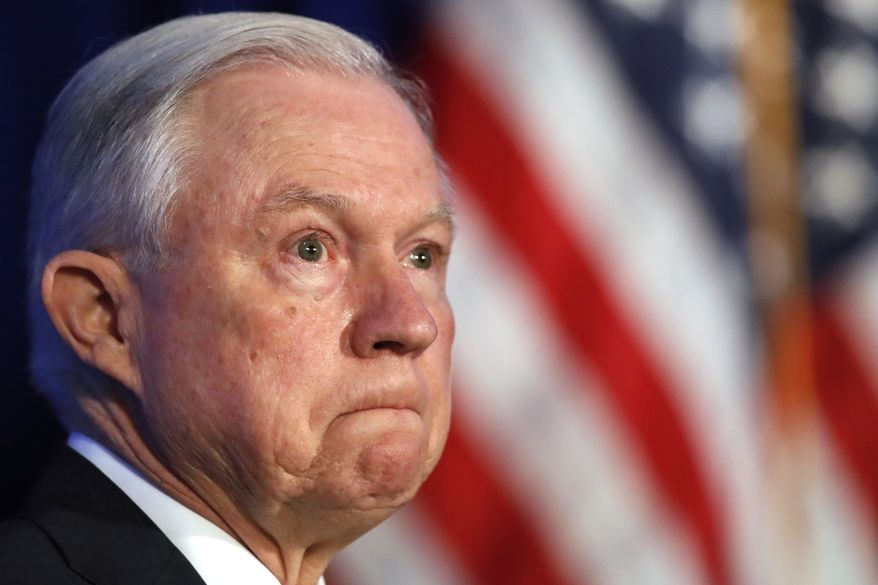 Attorney General Jeff Sessions listens during the Justice Department's National Summit on Crime Reduction and Public Safety, in Bethesda, Md., on Tuesday, June 20, 2017. (AP Photo/Jacquelyn Martin)