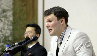 In this Feb. 29, 2016, file photo, American student Otto Warmbier cries while speaking to reporters in Pyongyang, North Korea. Warmbier died Monday, June 19, 2017, relatives said in a statement. He arrived in Ohio on June 13, 2017, after being held for more than 17 months. (Korean Central News Agency/Korea News Service via AP)
