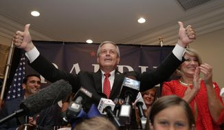 Republican Ralph Norman gives a thumbs up to supporters at a campaign party in Rock Hill, S.C., Tuesday, June 20, 2017, after winning the South Carolina's 5th Congressional District. (AP Photo/Chuck Burton)