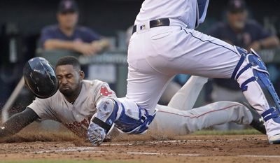 Boston Red Sox's Jackie Bradley Jr. beats the tag by Kansas City Royals catcher Salvador Perez to score on a double by Sam Travis during the fourth inning of a baseball game Tuesday, June 20, 2017, in Kansas City, Mo. (AP Photo/Charlie Riedel)