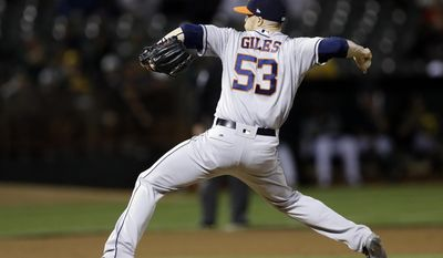 Houston Astros pitcher Ken Giles works against the Oakland Athletics in the ninth inning of a baseball game Monday, June 19, 2017, in Oakland, Calif. (AP Photo/Ben Margot)