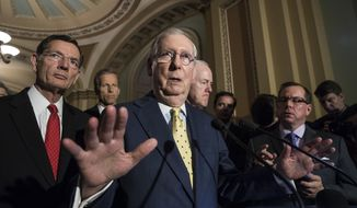 "Senate Majority Leader Mitch McConnell, R-Ky., joined by, from left, Sen. John Barrasso, R-Wyo., Sen. John Thune, R-S.D., and Majority Whip John Cornyn, R-Texas, speaks following a closed-door strategy session, at the Capitol in Washington, Tuesday, June 20, 2017. Sen. McConnell says Republicans will have a ""discussion draft"" of a GOP-only bill scuttling former President Barack Obama's health care law by Thursday. (AP Photo/J. Scott Applewhite)"