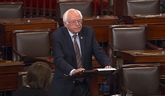 In this image from Senate Television video, Sen. Bernie Sanders, I-Vt., pauses as he speaks Wednesday, June 14, 2017, on the Senate floor at the Capitol in Washington, about the shooting at the Republican congressional baseball practice.  (Senate Television via AP) **FILE**