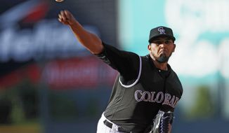 Colorado Rockies starting pitcher German Marquez delivers to Arizona Diamondbacks' Gregor Blanco in the first inning of a baseball game Tuesday, June 20, 2017, in Denver. (AP Photo/David Zalubowski)